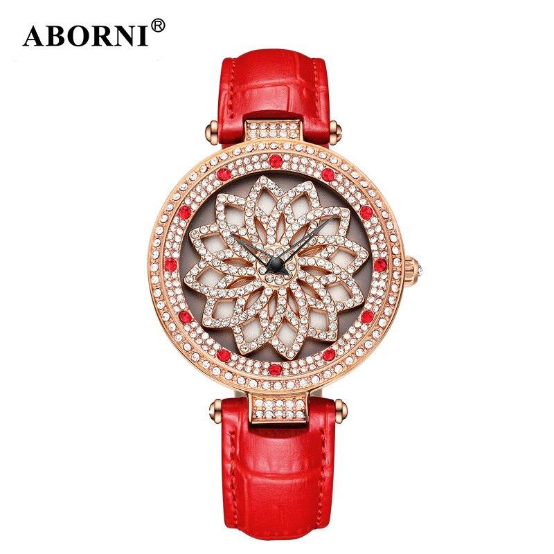 2019 ABORNI chanceux fleur femmes montres dame brillant 360 Rotation robe montre femmes grand diamant montre-bracelet fille horloge pour cadeau