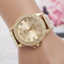 Noua modă de ceasuri de mână clasice Femei de lux de cristal din oțel inoxidabil Ceasuri de mână Casual Quartz ceasuri de mână Relogios Feminino cadou
