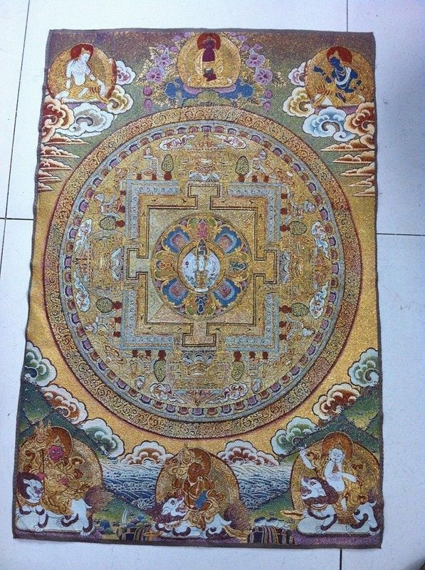 23.62Golden silk embroidery thangka exorcism wealth kf Buddha in Tibet and Nepa