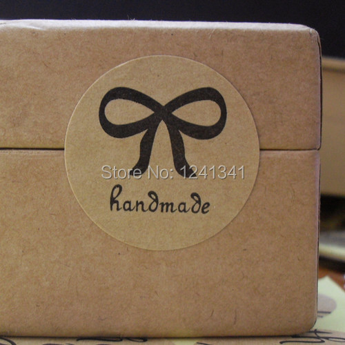 Vintage handmade round bow design brown kraft paper seal label sticker for gift packing nice