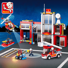 612Pcs City Fire Station Police Rescue Fireman Model Building Blocks Sets LegoINGLs Technic Bricks Toys for Children недорого