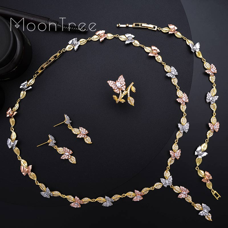 MoonTree Cubic Zirconia Leaf Animal Butterfly Wedding Engagement Bridal Necklace Bracelet Earring Ring Set For Women a suit of chic rhinestone hollow out leaf necklace bracelet earrings and ring for women