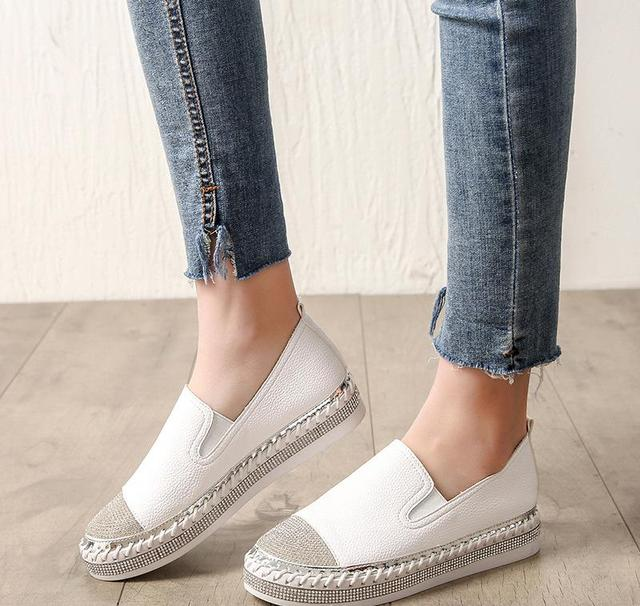 European Famous Brand Patchwork Espadrilles Shoes Woman Genuine Leather Creepers Flats Ladies Loafers White Leather Moccasins 4