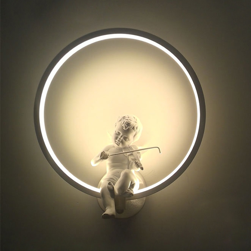 Fashion creative art wall light Angel LED wall lamp Nordic bedroom Decoration wall light LED Lustre Light Wall Lighting fashion floral rattan butterflies pattern bedroom decoration wall stickers