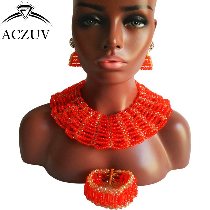 ACZUV Brand Wedding Red Jewelry Set for Women Costume African Beads Nigerian Necklace and Earrings AS006 a suit of chic faux turquoise beads necklace and earrings for women