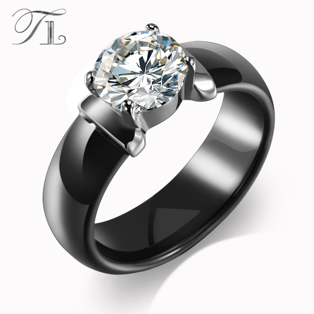 лучшая цена TL New Arrival Ceramic Rings For Women Huge Zircon Cabochon Setting Black&White Ceramic Wedding Rings Cute Simple Unique Design