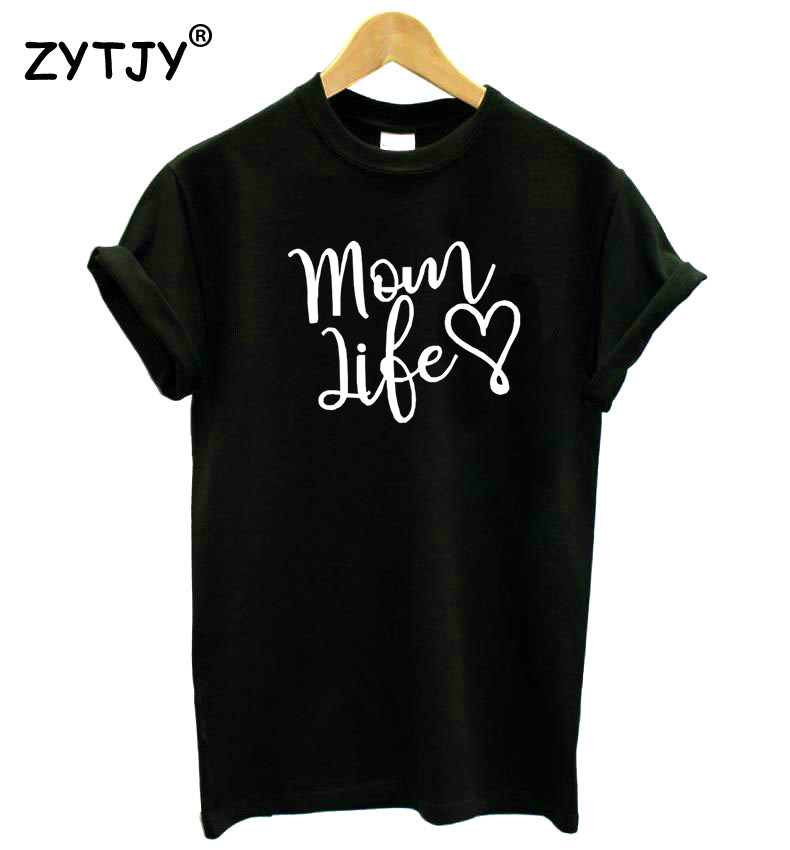 Mom life heart letters print women tshirt cotton casual for Drop ship t shirt printing