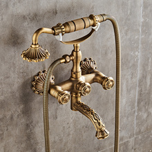 Luxury Antique Brass Bathroom Faucet Mixer Tap Wall Mounted Hand Held Shower Head Kit Shower Faucet Sets gold plating bathroom bath faucet wall mounted hand held shower head kit shower mixer sets