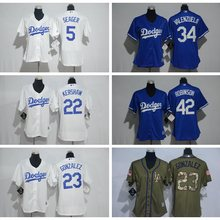 e46208341 Majestic mujeres de Los Angeles Dodgers Fernando Valenzuela Adrian Gonzalez  Corey Seager Clayton Kershaw Jackie Robinson jersey