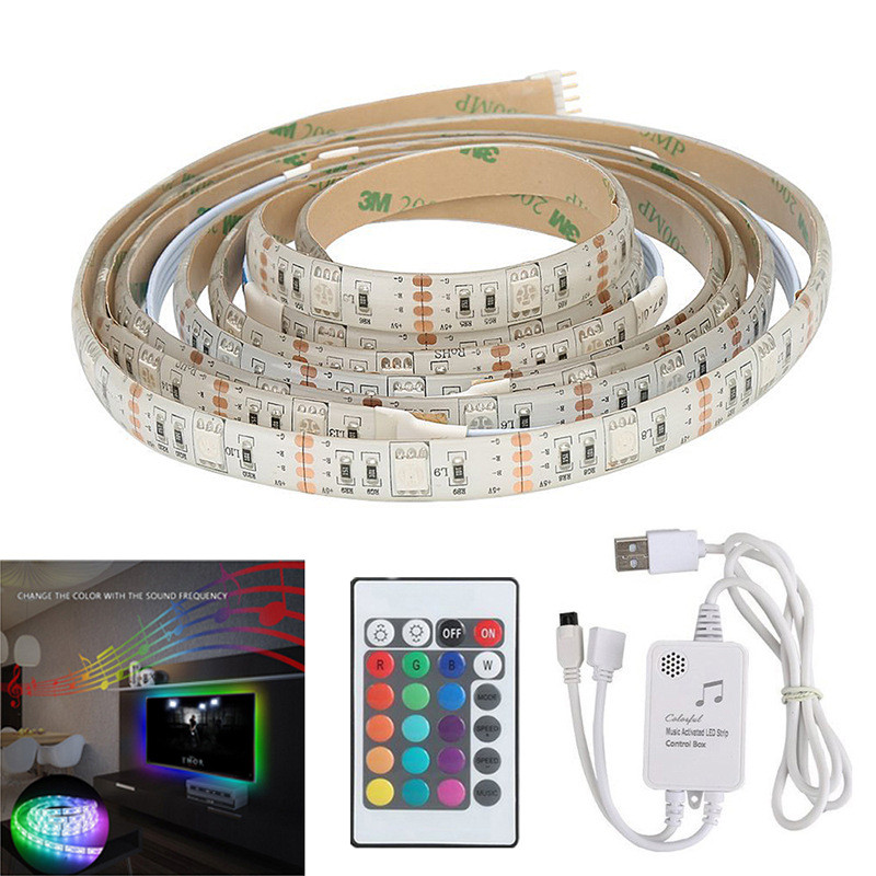 2M IP65 Waterproof Music Sound Activated RGB LED Strip Light 5050smd Strip Kit RGB With 5V USB IR Controller Party 4pcs sound activated rgb led strip with car charger remote control