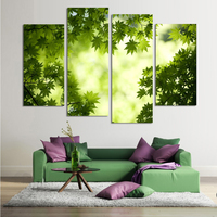 4PCS White And Black Tree Art In Sky Wall Painting Print On Canvas For Home Decor