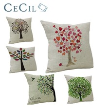 Home Decorative Pillow Cover Life Tree Plant Printing Simple Style Office Cushion Cover Sofa Lumbar Pillowcase Pillow Cover цены