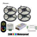20M Waterproof 5050 RGB SMD 60Leds/M Flexible Led Strip + 24A Amplifier +Wireless RF Dimmer Remote Controller+20 A Power WLED41