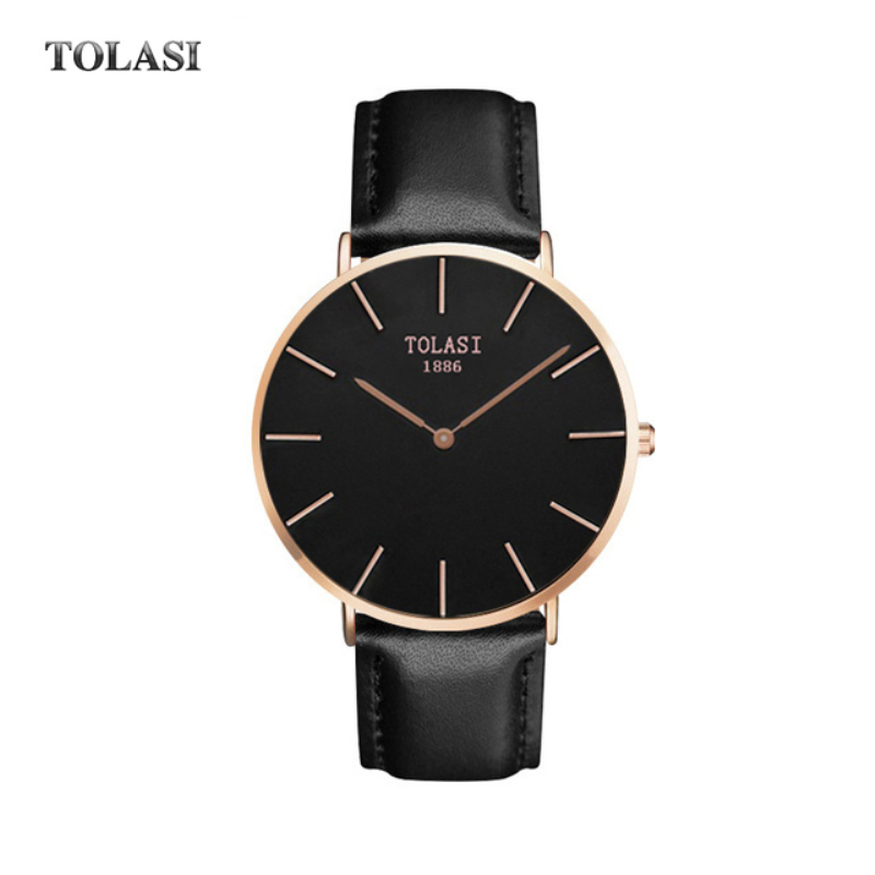 2017 TOLASI Brand Women Watches Genuine Leather reloj mujer Luxury Dress Watch Ladies Quartz Rose Gold Wrist Watch Montre Femme geneva brand fashion rose gold quartz watch luxury rhinestone watch women watches full steel watch hour montre homme reloj mujer