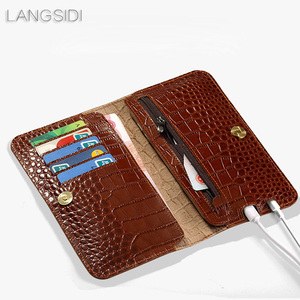 Image 4 - wangcangli genuine calf leather phone case crocodile texture flip multi function phone bag for Huawei Honor V9play hand made