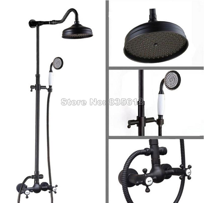 Black Oil Rubbed Bronze Bathroom Rain Shower Faucet Set with 8 inch Shower Head / Hand Spray / Dual Handles Mixer Taps Wrs793