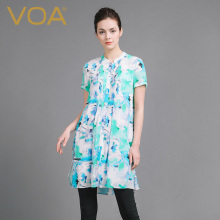 VOA 2017 Summer New Short Sleeve Floral Print Silk Blouse Fashion Casual Loose Plus Size Sweet Cute Long Shirt B6902
