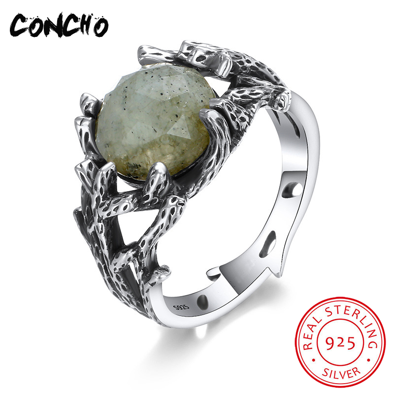 2018 Bands Tension Setting Trendy Party Anel Feminino Concho Jewelry 925 Sterling Geometric Shape Natural Stone Rings For Women цена