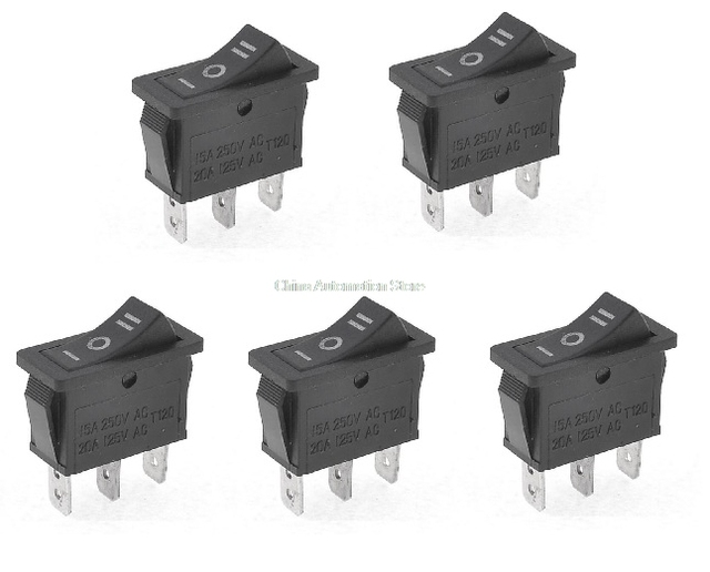 3 position rocker switch 3 pins on off on snap switch KCD1 KCD3-in