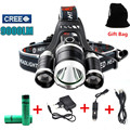 Led headlight 9000 lumens 3T6 3x XM-L T6 LED Head Lamp Headlights Camping Fishing head Light +2*18650 batteries+1*Charger