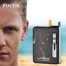 FOCUS New Moistureproof Cigarette Case Box With Lighter Crush Resistance USB Electronic Hold 10pcs For Men