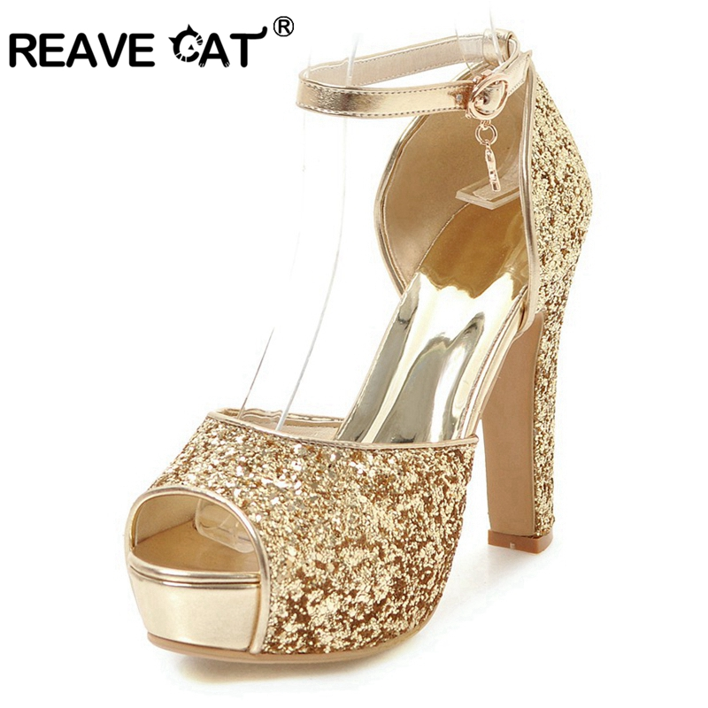 REAVE CAT glitter Bridal Pumps summer peep toe wedding thick high heels bling ankle strap gold