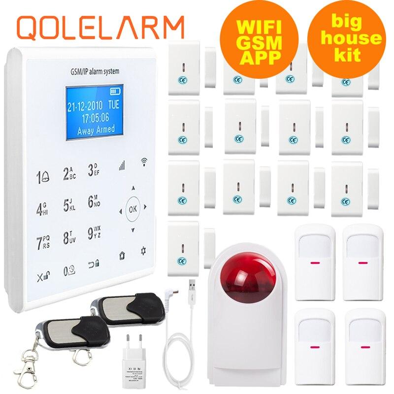 QOLELARM LCD Menu WIFI GPRS GSM APP 433MHZ Wireless Home Burglar Security Alarm System with smart socket,smoke sensor,wire pir