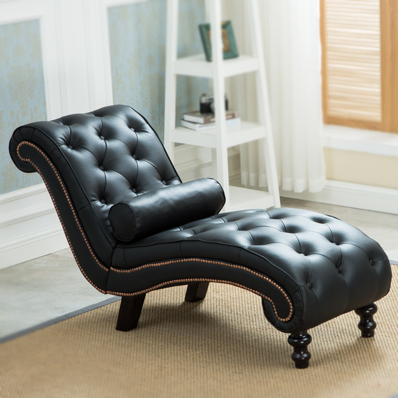 Classic Leather Chaise Lounge Sofa With Pillow Living Room