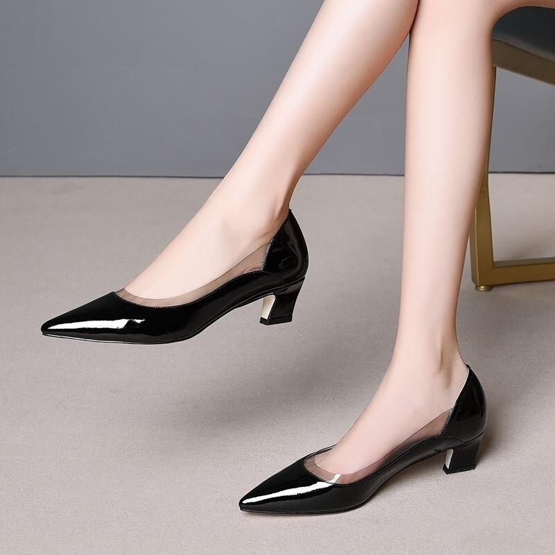 ALLBITEFO คุณภาพสูงของแท้หนัง pointed toe รองเท้าส้นสูงผู้หญิงรองเท้าฤดูใบไม้ผลิผู้หญิงรองเท้าส้นรองเท้ารองเท้าผู้หญิงรองเท้าส้นสูงขนาด: 33 43-ใน รองเท้าส้นสูงสตรี จาก รองเท้า บน   2
