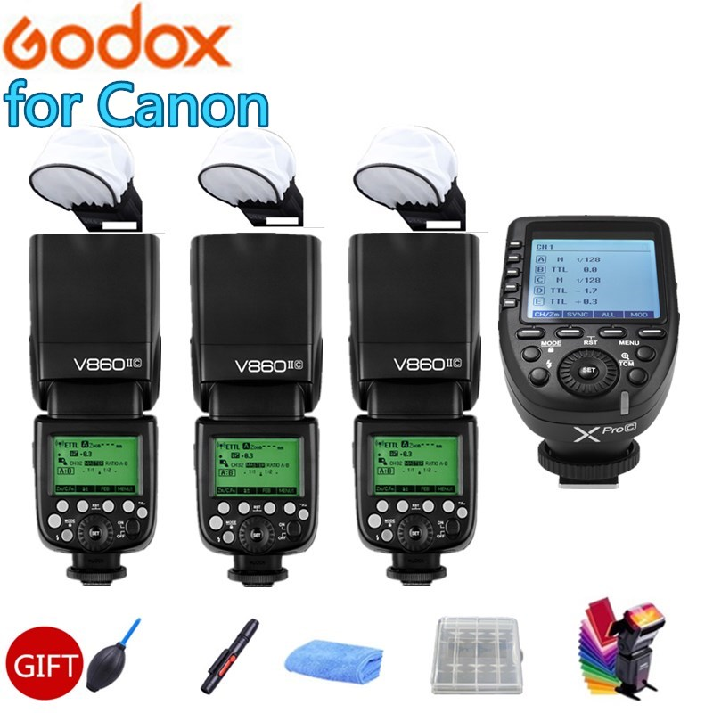 3x Godox V860II-C V860IIC Flash Speedlite Built-in 2.4G GN60 HSS TTL Flash Light + Xpro-C Trigger Transmitter for Canon 70D 60D godox 2pc v860ii the flash li battery e ttl hss 1 8000s bateria camera flash speedlite v860iic with x1t c for canon 60d 650d 80d
