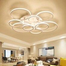 الحديثة LED الثريا أضواء المنزل لغرفة المعيشة تركيبات السقف مصباح أبيض أسود مع التحكم عن بعد إضاءة غرفة النوم بريق