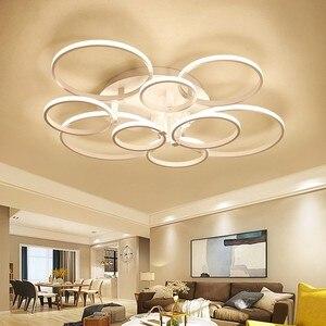 Image 1 - 現代のledシャンデリアホームリビングルーム天井器具ブラックホワイトランプとリモコンの寝室の照明光沢