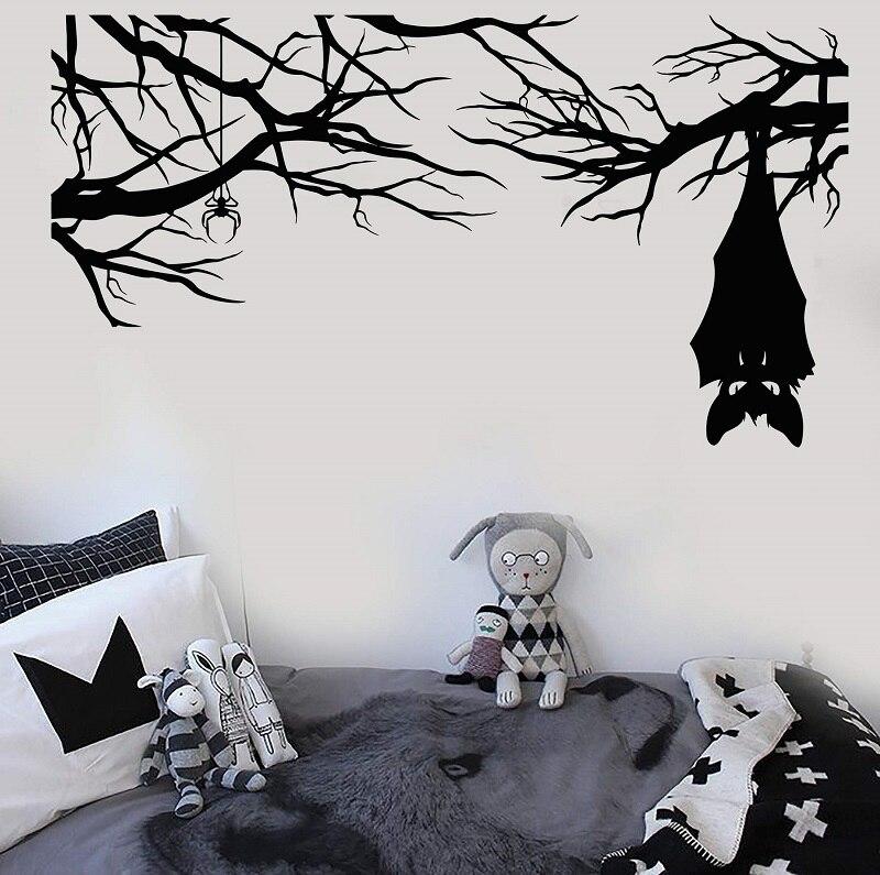 Cartoon gothic spider bat on branch halloween vinyl wall decal home living room bedroom window art decoration mural  WSJ15