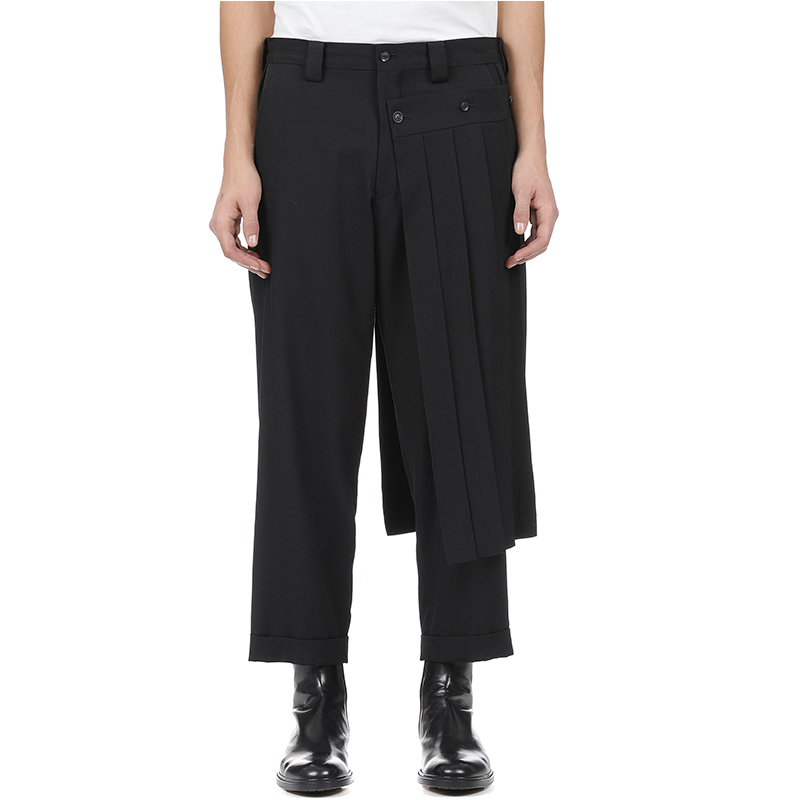 Double Men's Trouser Skirt Pants And Nine-point Tapered Bobbin Trousers, Deconstructed Vertical Cut Yohji Spring Pants.  S-9XL!!