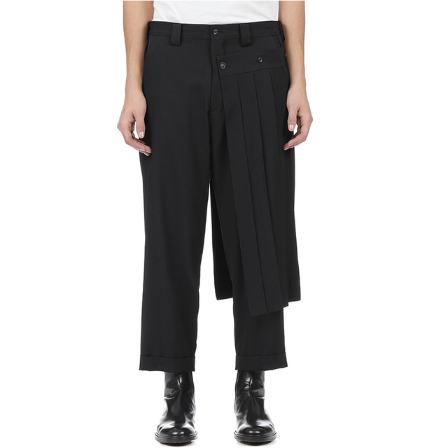 Double men's trouser skirt pants and nine-point tapered bobbin trousers, deconstructed vertical cut yohji spring pants.  S-9XL!! 1