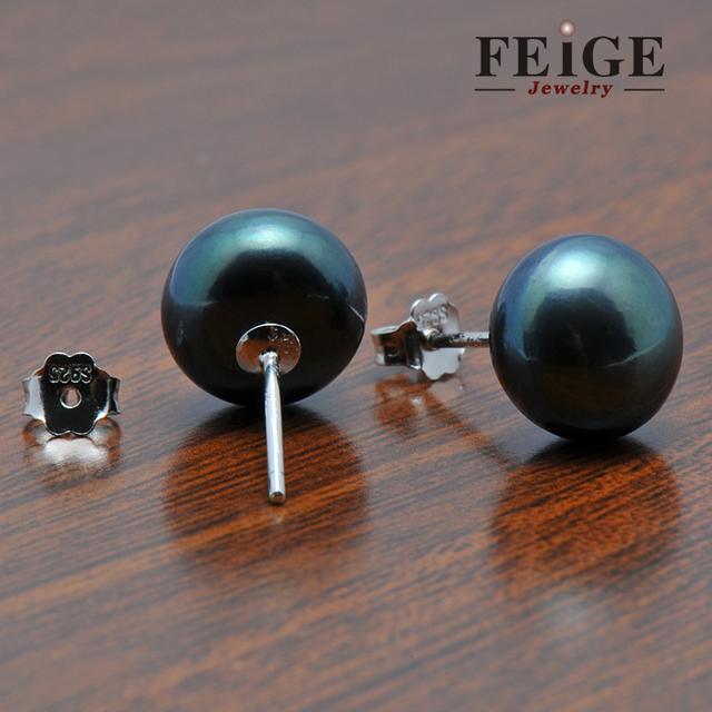 Black Freshwater Pearl 925 Sterling Silver Stud Earrings