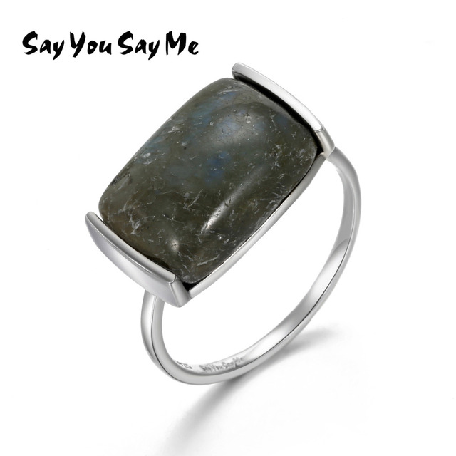 Say You Say Me Big Natural Stone Rings 925 Silver Black Rectangle Party Rings Fo