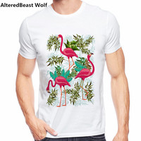 New Arrivals 2017 Men S Summer Pink Flamingos Exotic Birds Printed T Shirt Cool Tops High