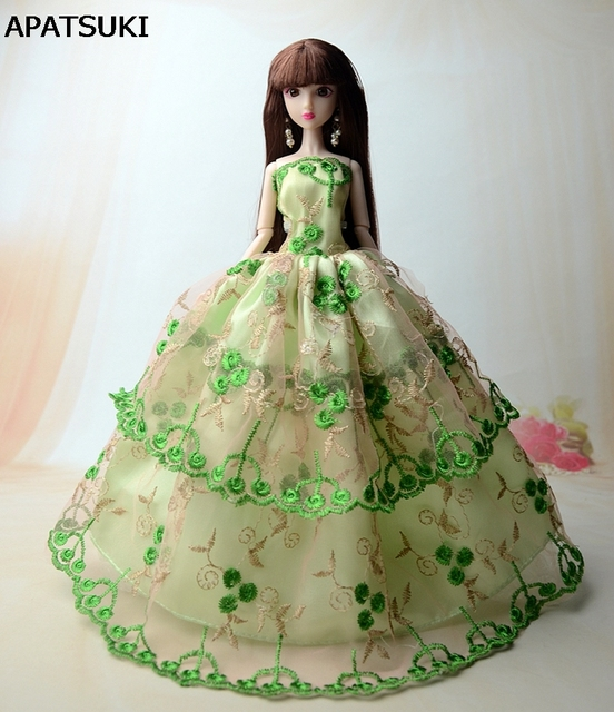 Green Wedding Dress For Barbie Doll Evening Gown Clothes Dollhouse 1 6