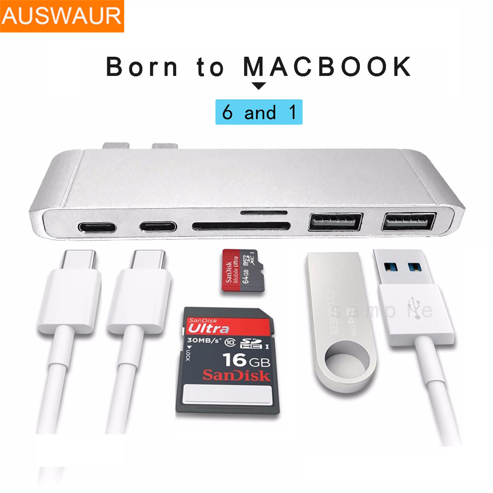 High Speed 6 in 1 USB Aluminium Type C 2 USB 3.0 Ports USB H-u-b For MacBook Pro Type-C