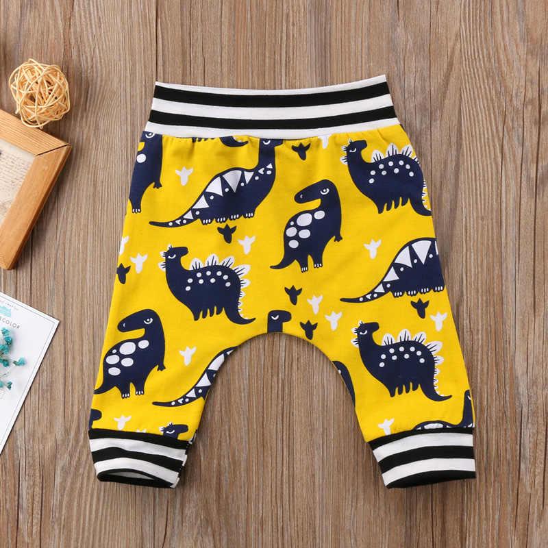 2018 Moda Yeni Çocuk Erkek Bebek Kız Pamuk Sevimli Dinozor Uzun Pantolon Rahat Tayt Pantolon Dipleri Kıyafet Bahar Güz 1-5Y