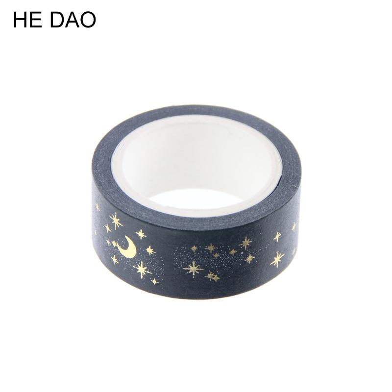 1 Pc Nero Di Luna Stelle Washi Nastri Di Carta Adesivo 1.5 Cm X 5 M Fai Da Te Scrapbooking Cuore Adesivi Da Imballaggio Del Regalo Sticker Colori Armoniosi