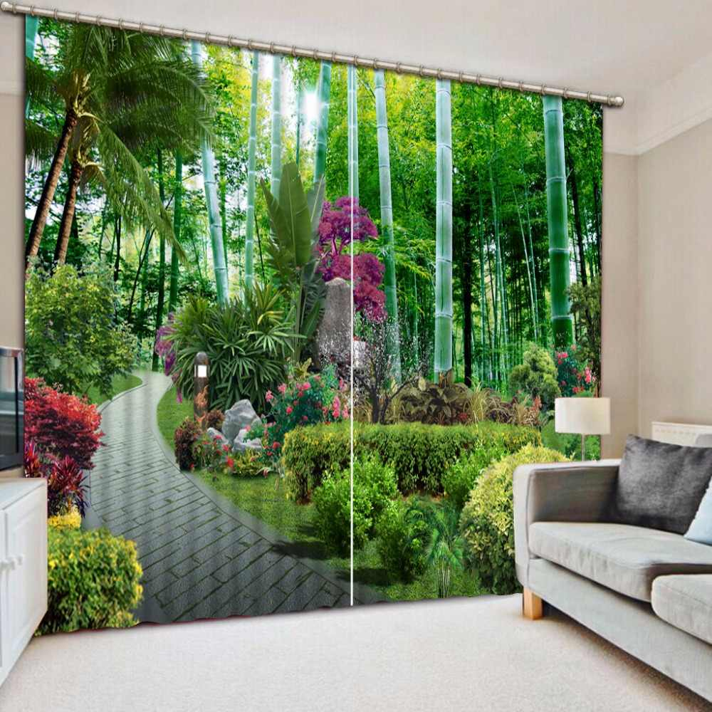 Pastoral Style 3D Photo Curtains landscape Bamboo Curtains Polyester/Cotton For Curtains Modern Thick Blackout Window Curtain