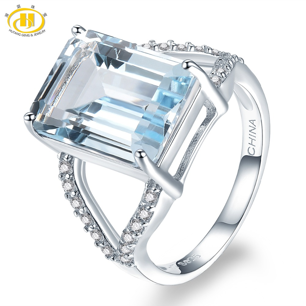 Hutang Stone Jewelry Natural Gemstone Sky Blue Topaz Ring Solid 925 Sterling Silver Fine Fashion Jewelry For Women Man Gift New