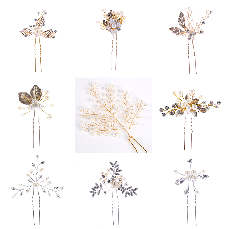 Fashion 1PC Gold Silver Wedding Hair Accessories Pearl