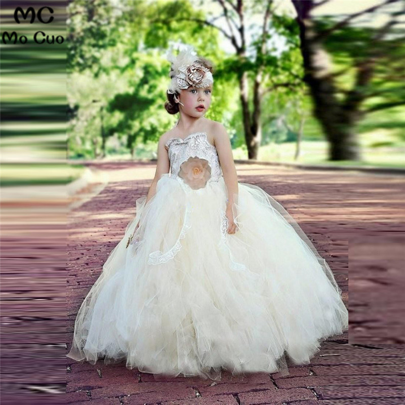 Princess Lace Appliques Kids Pageant Ball Gowns Ruffles Puffy communion   dresses   for   girls     flower     girl     dresses   for weddings