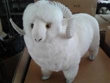 simulation white sheep model toy polyethylene & furs large sheep 37x30cm hard model,home decoration gift t205