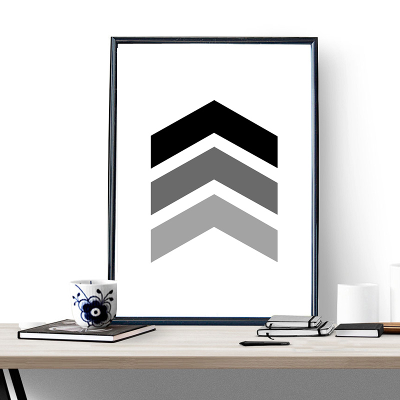 Us 4 86 8 Off Chevron Print Art Poster Pictures Painting On The Wall Home Decor Graphic Geometric Black And White Frame Not Include In