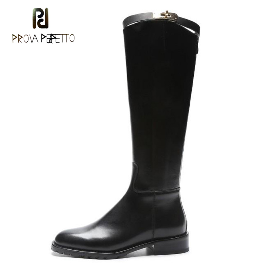 Prova Perfetto shark buckle decoration women motorcycle boots 2018 new winter shoes round toe low heel