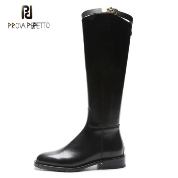 Prova Perfetto shark buckle decoration women motorcycle boots 2018 new winter shoes round toe low heel knee high boots females